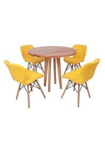 Conjunto Mesa De Jantar Em Madeira 90Cm Com Base Vértice + 4 Cadeiras Slim - Amarelo
