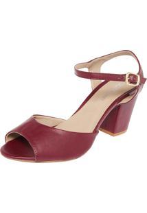 Sandália Dafiti Shoes Salto Grosso Vinho