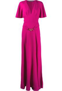 Alberta Ferretti Deep V-Neck Belted Evening Dress - Roxo