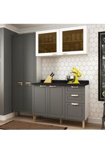 Cozinha Completa 4 Peã§As Americana Multimã³Veis 5672 Branco/Grafite - Branco/Incolor - Dafiti
