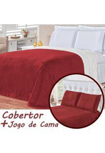 Kit Cobertor C/ Lençol Alaska Dupla Face Vermelho Queen - Sherpa E Manta Microfibra 04 Peças