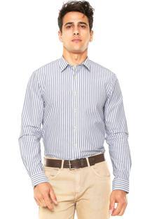 Camisa Richards Listras Branca/Cinza