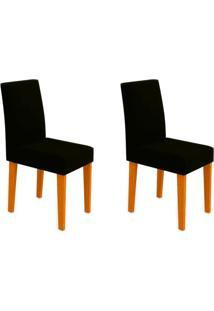 Conjunto Com 2 Cadeiras Giovana Ipê E Preto