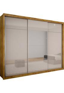 Guarda-Roupa Casal Com Espelho Trento Gold 3 Pt Freijó Dourado E Off White