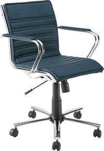 Cadeira Office Diretor Giratória Com Pistão A Gás Havenna Movelfar - Sued Azul Anil - Multistock