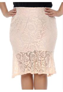 Saia Renda Mullet Rosa Plus Size