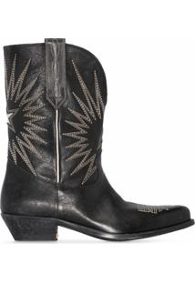 Golden Goose Bota Cowboy Wish Star Com Bordado - Preto