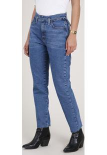 Calça Jeans Feminina Mom Clochard Cintura Super Alta Com Cordão Para Amarrar Azul Escuro