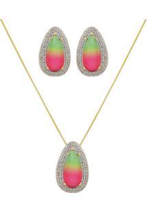 Conjunto Narcizza Semijoias Brinco E Colar Gota Rainbow Cristal Multicollors Verde E Rosa Ouro