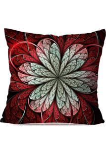 Capa De Almofada Avulsa Decorativa Vitral Vermelha 45X45Cm