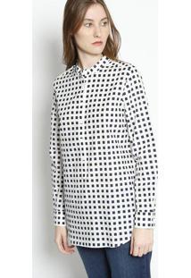 Blusa Quadrados Com Seda- Off White & Azul Marinho- Lacoste
