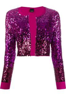 Pinko Cardigan Cropped Com Paetês - Rosa