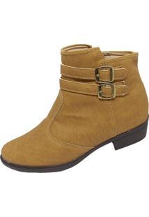 Bota Moda Pé Ankle Boots Caramelo