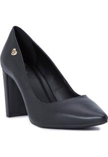 Scarpin Black Block Heel Cs Club Preto