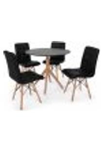 Conjunto Mesa De Jantar Maitê 80Cm Preta Com 4 Cadeiras Eiffel Gomos - Preta
