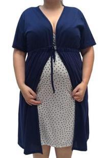 Conjunto Camisola De Alcinha Coração Com Robe Plus Size Linda Gestante Pós Parto Feminino - Feminino-Cinza+Marinho