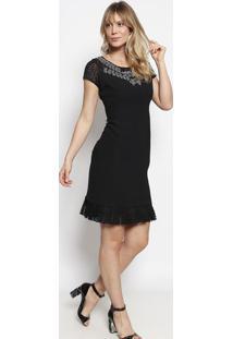 Vestido Com Renda & Bordados- Preto & Cinza- Nectarinectarina