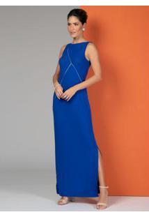 Vestido Canelado Azul Com Detalhes Em Prata
