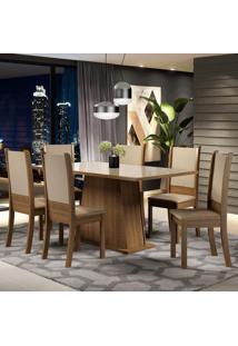 Conjunto Sala De Jantar Madesa Emma Mesa Tampo De Vidro Com 6 Cadeiras Marrom - Tricae