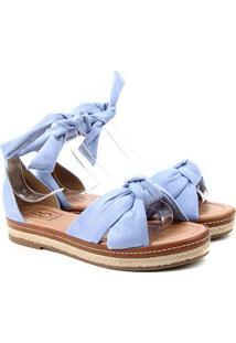 Sandália Bebecê Flatform Corda Nó Amarração - Feminino-Azul