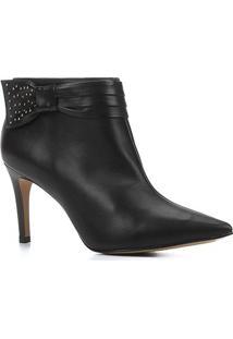 Bota Couro Shoestock Salto Fino Laço Metais Bico Fino - Feminino-Preto