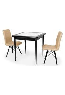 Conjunto Mesa De Jantar Em Madeira Preto Prime Com Azulejo + 2 Cadeiras Gomos - Nude