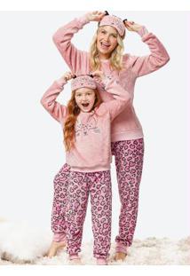 Pijama Rosa Claro Feminino Oncinha Com Máscara