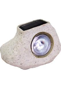 Luminária Solar Balizadora Led Pedra Bege