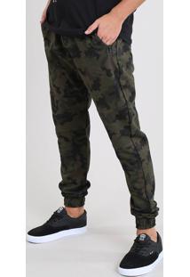 Calça Masculina Jogger Estampada Camuflada Em Moletom Verde Militar