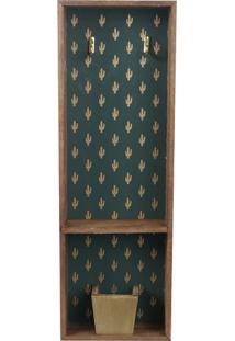 Porta Chave Estampado- Verde & Dourado- 48X16X6Cm