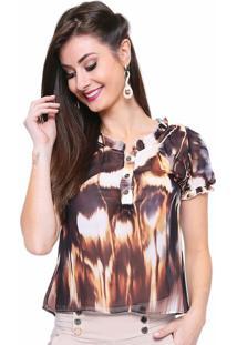 Camisa Estilo Boutique Chiffon Digital Print Multicolorido
