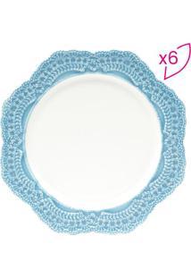 Jogo De Pratos De Sobremesa Givemy- Branco & Azul Claro