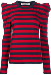 Philosophy Di Lorenzo Serafini Pulled Shoulder Striped Cotton Blend Jumper - Azul