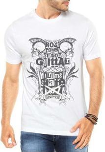 Camiseta Criativa Urbana Rock Caveiras - Masculino-Branco