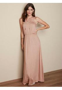 Vestido Rosa Claro Longo Estampado Malwee