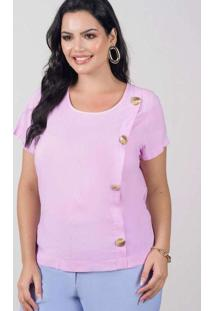 Blusa Botões Almaria Plus Size New Umbi Vazado Pos
