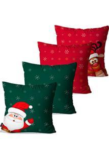 Kit Pump Up Com 4 Capas Para Almofadas Decorativas Natalinas Papai Noel Fundo Verde E Vermelho 45X45Cm - Verde - Dafiti