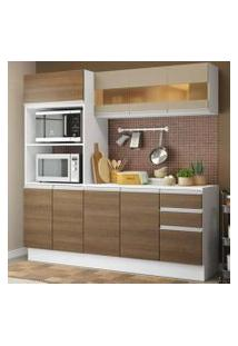 Cozinha Compacta 100% Mdf Madesa Smart 190 Cm Com Armário, Balcão E Tampo Branco/Rustic/Crema