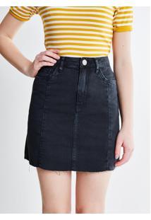 Saia Cintura Alta Em Jeans Com Barra Desfiada Preta