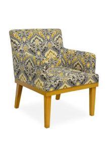 Poltrona Decorativa Para Sala De Estar Beatriz Arabesco Amarelo - Lyam Decor