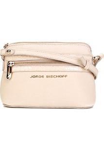 Bolsa Couro Jorge Bischoff Mini Bag Croco Feminina - Feminino-Nude