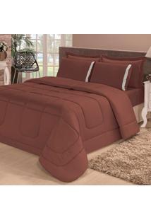 Kit Edredom Soft Casa Dona Casal + 4 Porta Travesseiros E Lençol Tabaco