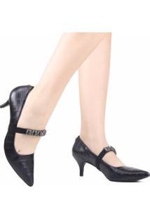 Sapato Jorge Bischoff Scarpin Bico Fino Pedras