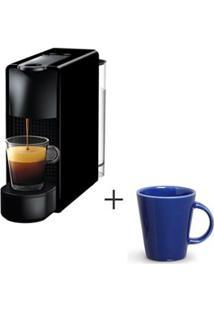 Cafeteira Nespresso Essenza Preto C30-Br - 110V + Canecas Basic Em Ceramica 208 Ml Com 04 Pecas Azul Navy - Porto Brasil