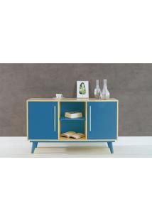 Aparador Buffet Com Prateleira E 2 Portas Celeste - Natural E Azul 133X40X79,5 Cm