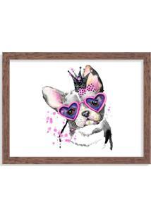 Quadro Decorativo Bulldog Princesa Rosa Pink Madeira - Médio