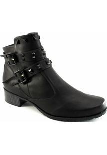 Coturno Spikes Numeração Especial Sapato Show - Feminino-Preto
