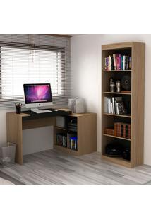 Escrivaninha E Estante Com 6 Prateleiras Para Escritório-Ho-2959-Hecol - Avela / Onix