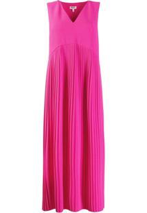 Kenzo Vestido Midi Com Pregas - Rosa