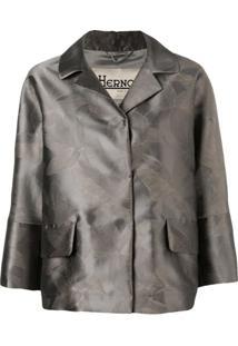 Herno Metallic-Look Floral Print Jacket - Cinza